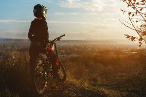 Mountain biker overlooking a valley